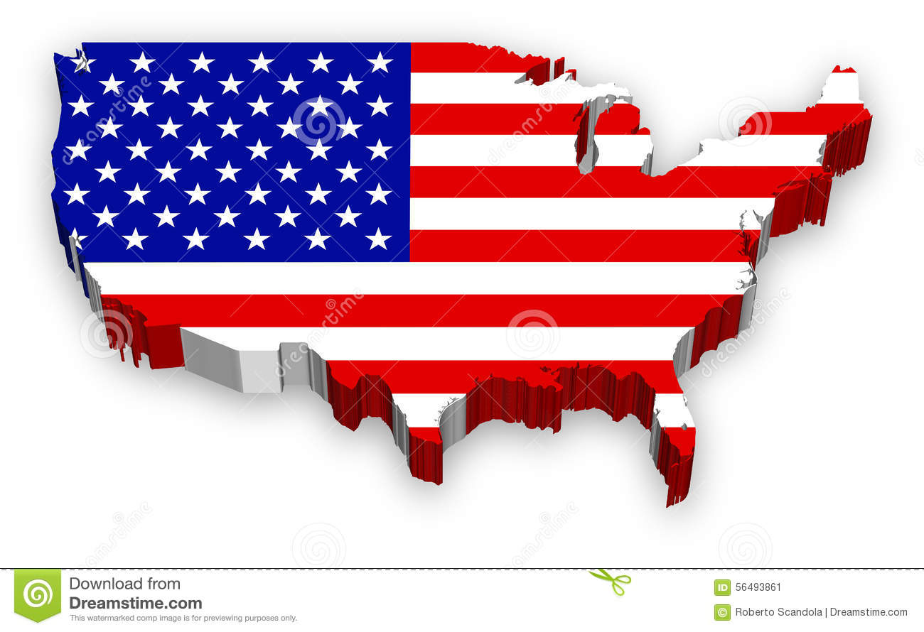 Us map flag clipart royalty free stock Vector 3D USA Map Flag Stock Vector - Image: 56493861 royalty free stock
