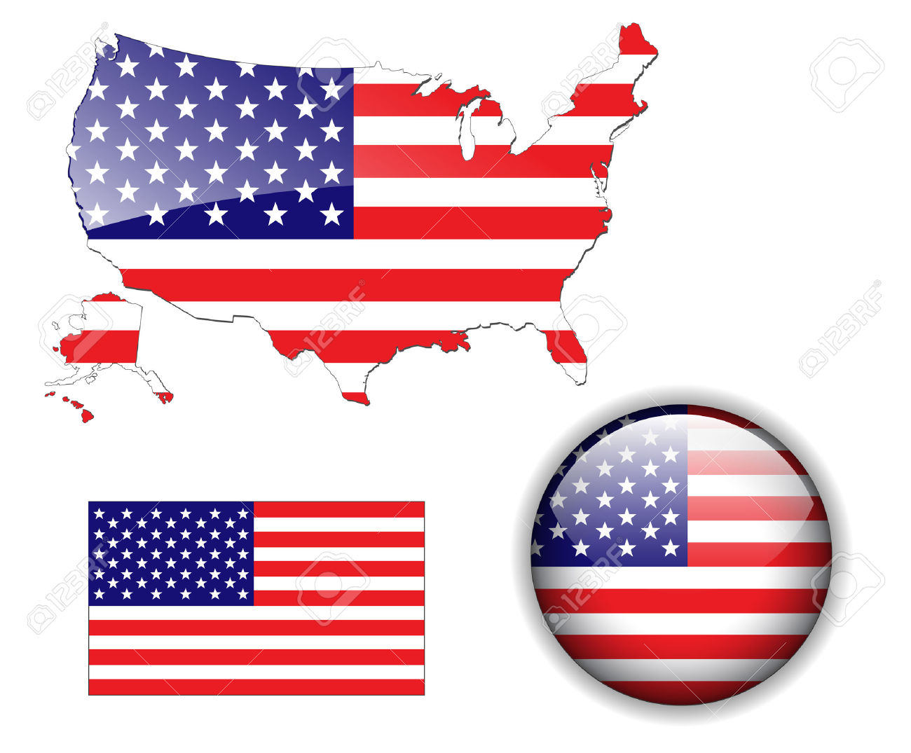 Us map flag clipart image royalty free stock North American USA Flag, Map And Glossy Button Royalty Free ... image royalty free stock