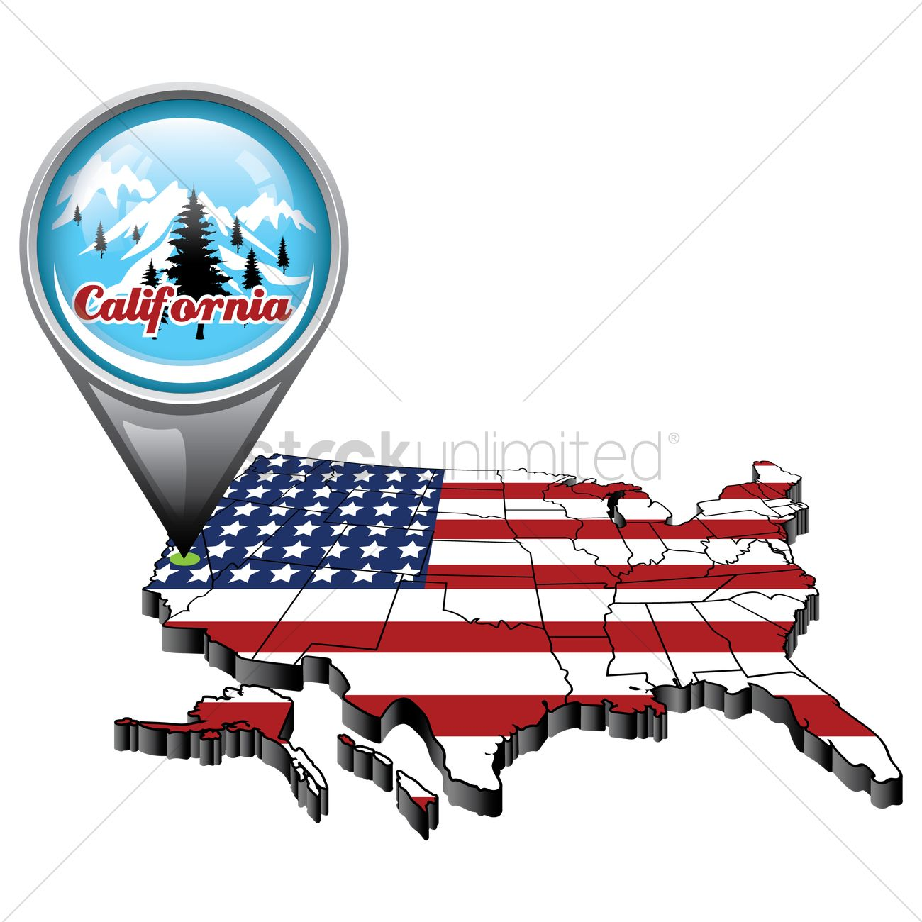 Us map highlighting california clipart jpg black and white Us map with pin showing california state Vector Image - 1553419 ... jpg black and white