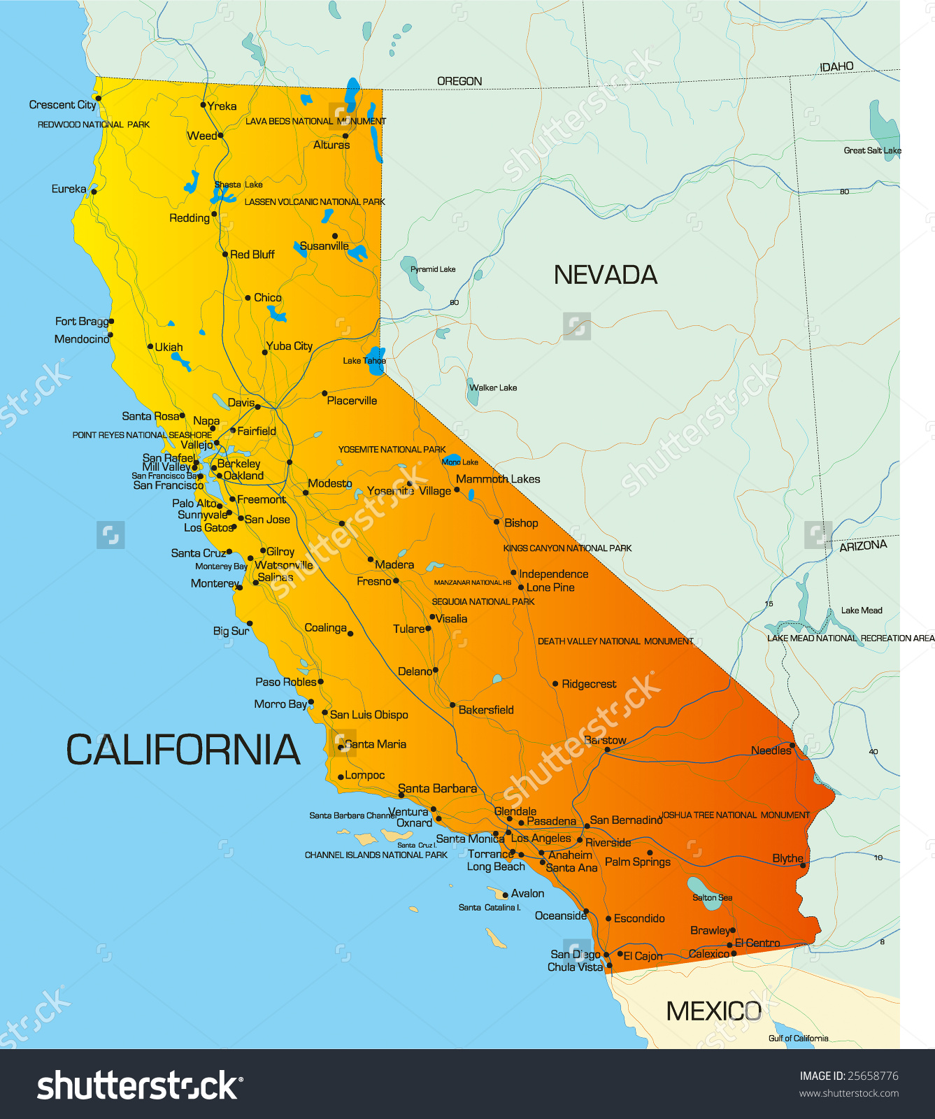 Us map of california state clipart picture freeuse download Vector Color Map California State Usa Stock Vector 25658776 ... picture freeuse download