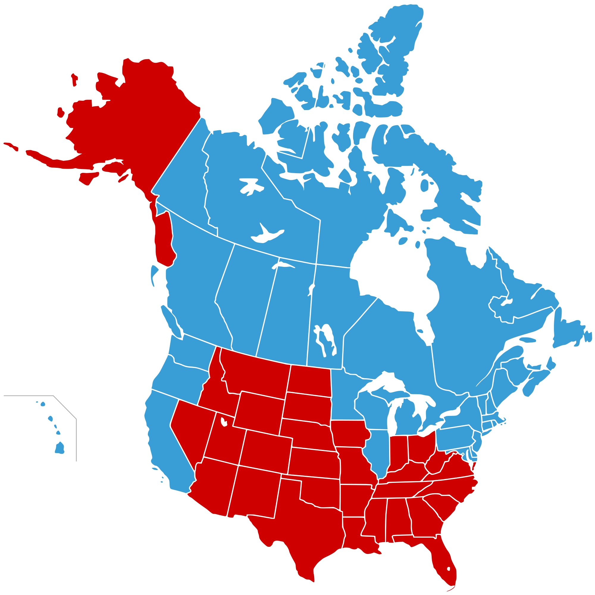 Us map pointing to california clipart jpg library library Map of the United States of Canada (in blue) and Jesusland (in red ... jpg library library