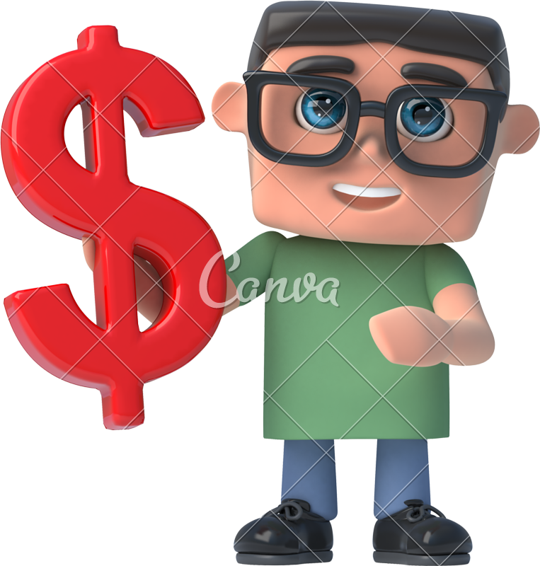 Us money frame clipart image free library 3d Boy Wearing Glasses Holds a US Dollar Currency Symbol - Photos by ... image free library