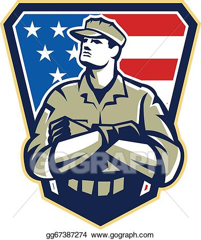 Us navy soldier real clipart clip art free library Vector Art - American soldier arms folded flag retro. EPS ... clip art free library