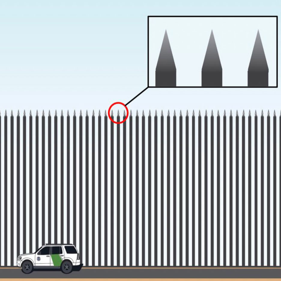 Usa and mexico border clipart svg freeuse Trump\'s Steel Slat Barrier for Mexican border lampooned by ... svg freeuse