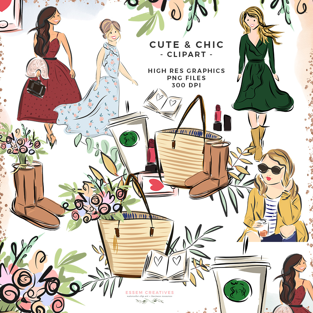 Watercolor farmers market clipart clip library stock Cute Chic Fall Fashion Girl PNG with Transparent Background | Logo Branding  Website Blog Header Planner Graphics clip library stock