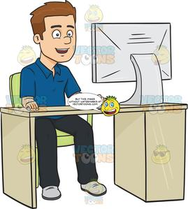 Using the computer clipart png library stock Smiling Man Using A Desktop Computer png library stock