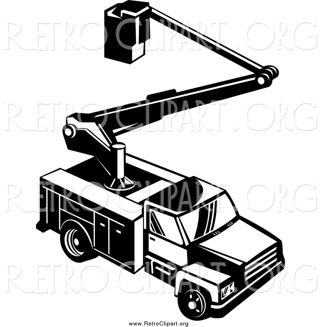 Utility truck clipart clipart Clipart of a Retro Black and White Bucket Utility Truck from ... clipart