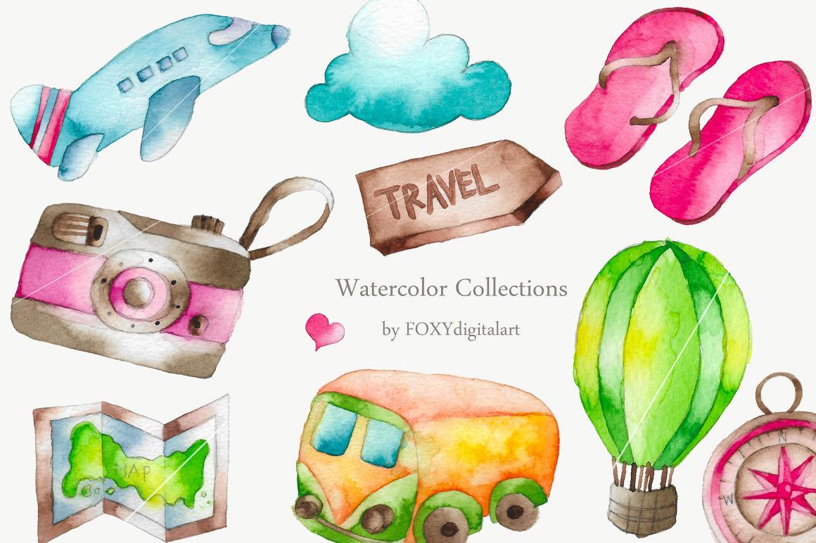Vacaion clipart clip art transparent Watercolor Travel Vacation Clipart By FOXYdigitalart ... clip art transparent