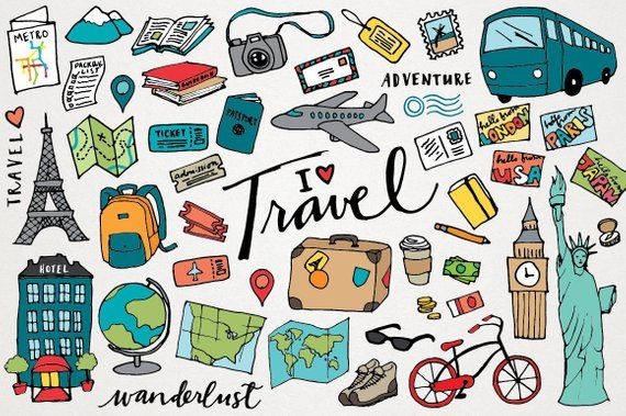 Vacaion clipart banner royalty free download Travel Clipart - hand drawn illustrations, digital download ... banner royalty free download