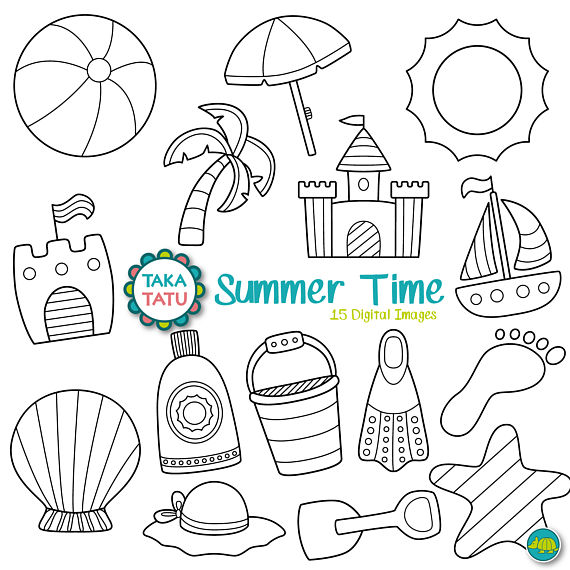 Vacation black and white clipart banner free Summer Time Digital Stamp Pack - Black and White Clipart ... banner free