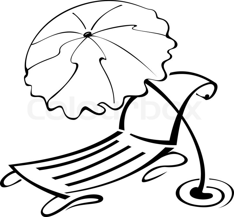 Vacation black and white clipart clip transparent library Black-and-white-contour-umbrella-and-beach-chair   Stock ... clip transparent library