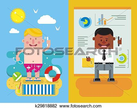 Vacation from work clipart clipart transparent library Clipart of Colleagues calling from vacation to work k29818882 ... clipart transparent library