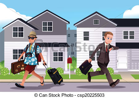 Vacation from work clipart picture black and white library Vector Clipart of People going to work and vacation concept - A ... picture black and white library