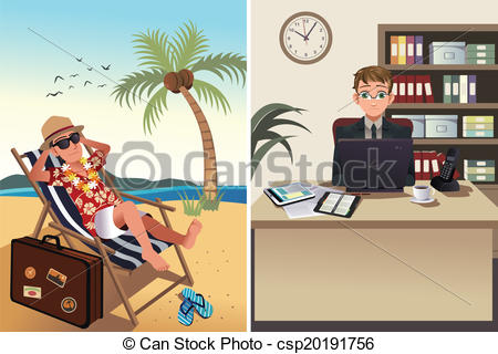Vacation from work clipart clip art library stock Clipart Vector of People going to work and vacation concept - A ... clip art library stock