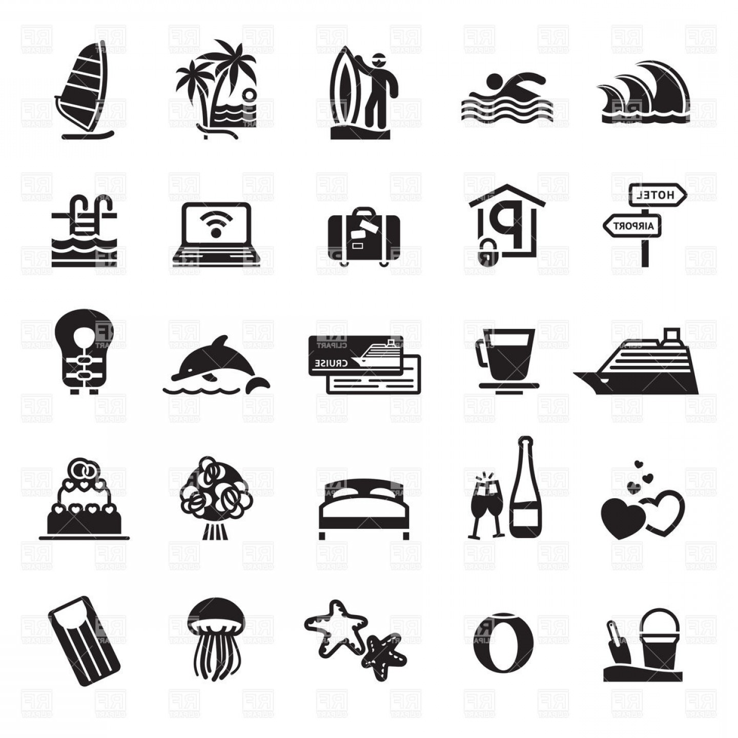 Vacation icons clipart graphic freeuse stock Vacation And Travel Icons Vector Clipart | GeekChicPro graphic freeuse stock