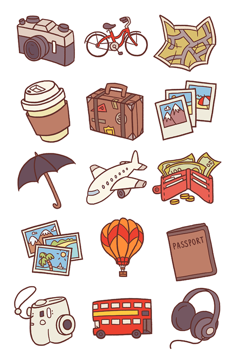 Vacation icons clipart clip art black and white library Travel Icons Pt.1 | TaLK IDEAS in 2019 | Travel drawing ... clip art black and white library