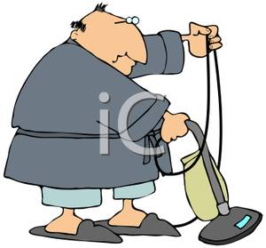Vacuumming clipart clip library Fat Guy Vacuuming In His Housecoat - Royalty Free Clipart ... clip library