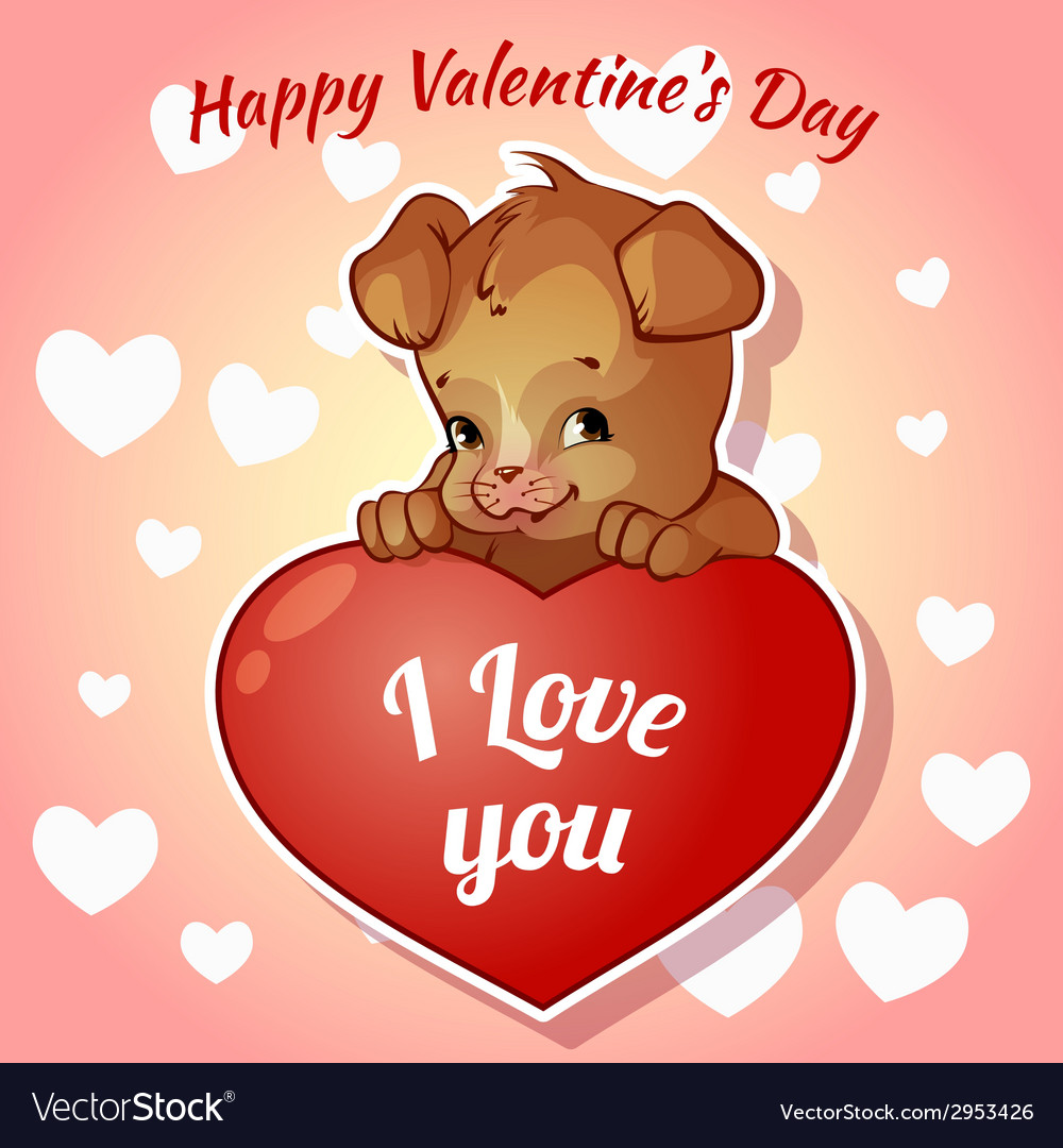 Valantines day cute dog clipart vector free library Cute puppy with hearts for Valentines Day vector free library