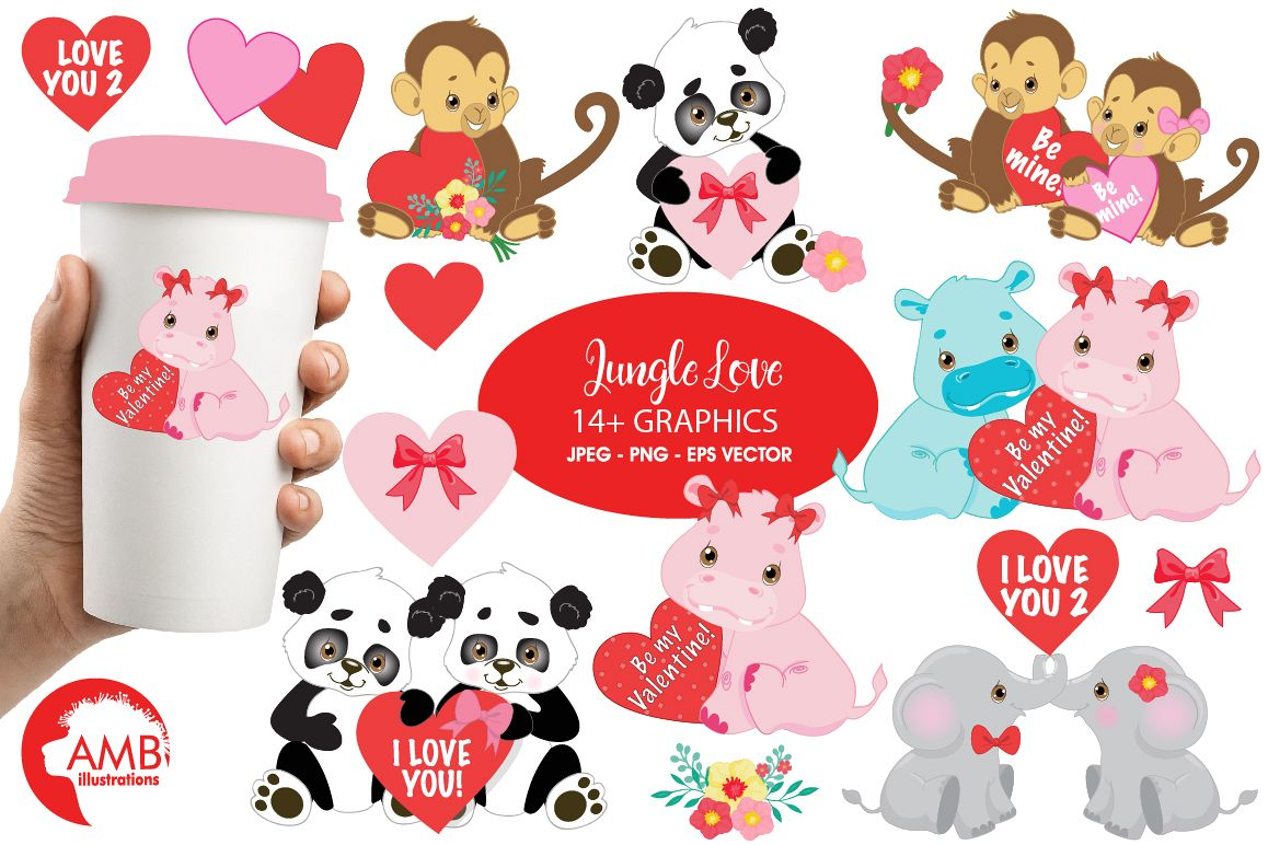 Valentine animals clipart clip art download Happy Valentine clipart, Jungle animals clipart, graphics illustrations  AMB-596 clip art download