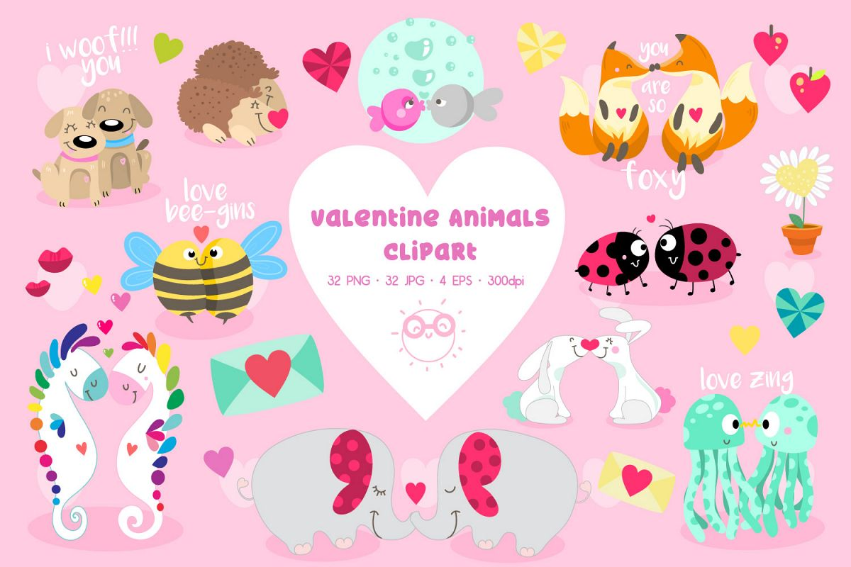 Valentine animals clipart image royalty free Valentine Animals clipart - Cute Animals for valentines day image royalty free