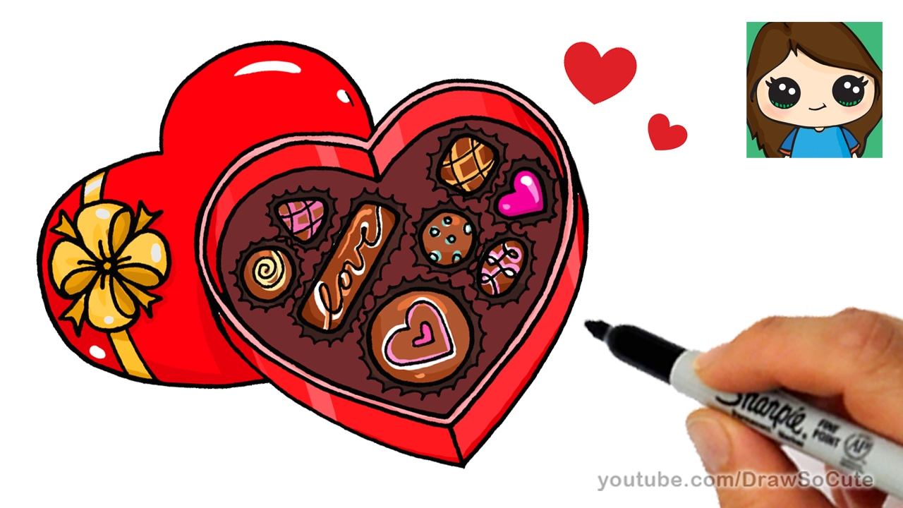 Valentine candy clipart too cute svg royalty free library How to Draw a Box of Chocolate svg royalty free library