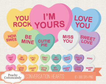 Valentine candy hearts clip art png library download Candy heart clipart | Etsy png library download