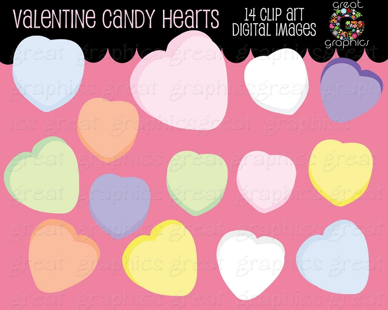 Valentine candy hearts clip art graphic freeuse download Candy Hearts Clipart - Clipart Kid graphic freeuse download
