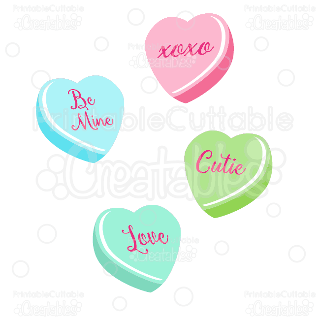 Valentine conversation hearts clipart png freeuse Valentine\'s Candy Hearts SVG Cut Files & Clipart png freeuse