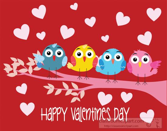 Valentine days clipart image transparent Happy Valentines Day Clipart Birds-on-branch-sending-happy ... image transparent