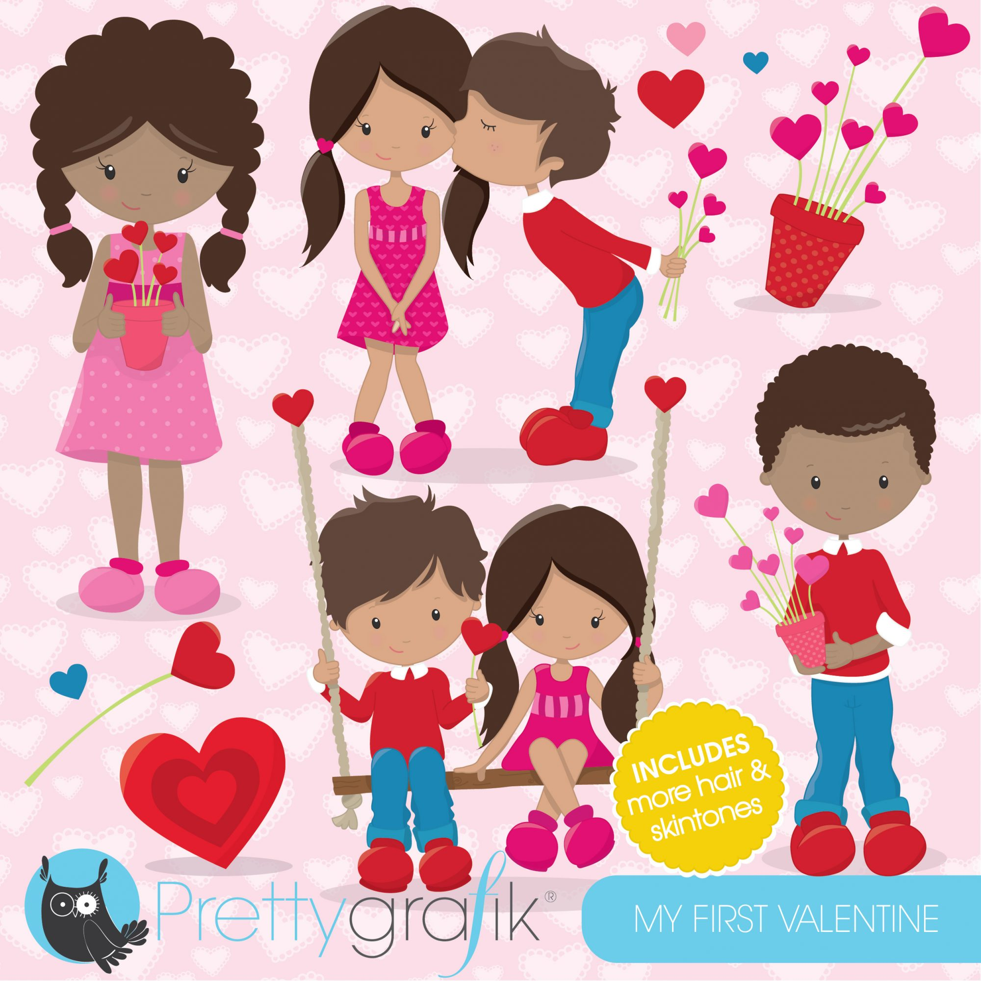 Valentine kids clipart banner black and white library Valentine kids clipart banner black and white library