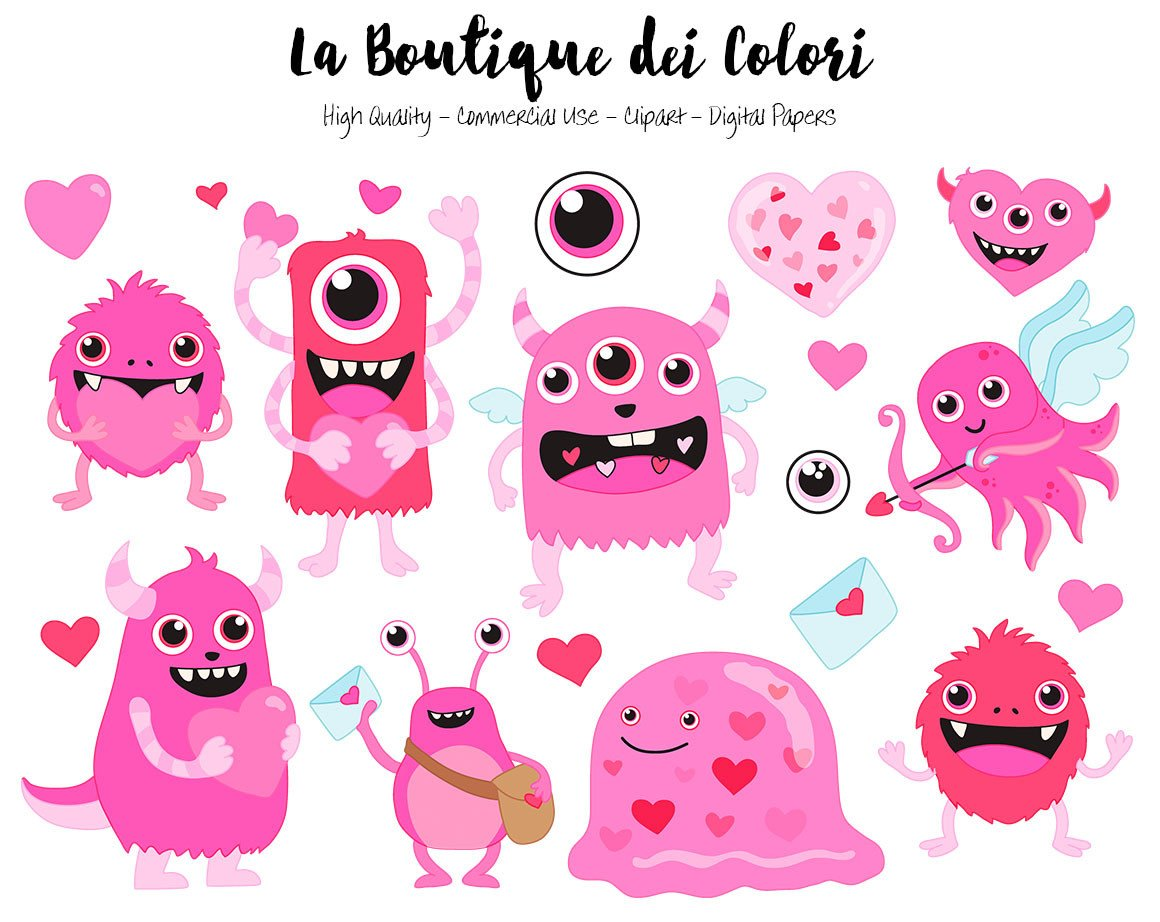 Valentine monster clipart picture library download Pink Valentine\'s Day Monster Clipart picture library download