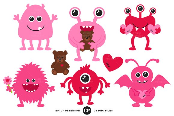 Valentine monster clipart picture free Valentine Monsters Clipart picture free