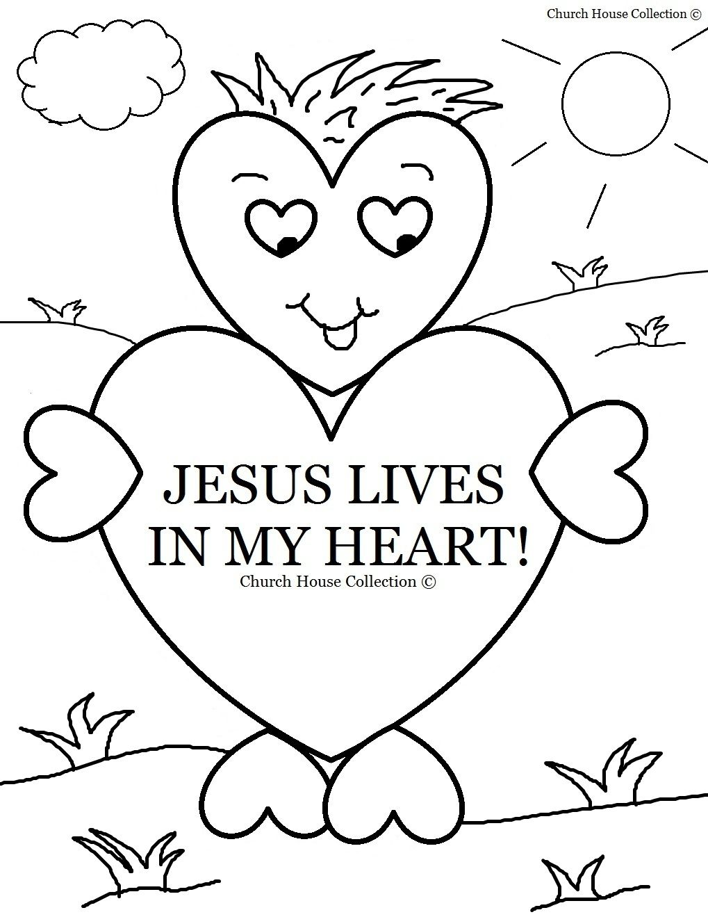Valentine religious clipart black and white spanish vector freeuse download Sunday School Coloring Pages | ... Lives In My Heart ... vector freeuse download