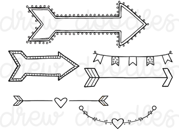 Valentine s day banner clipart black and white clipart royalty free Valentine\'s Day Banners and Arrows Digital Clip Art Set- Black Line Version clipart royalty free