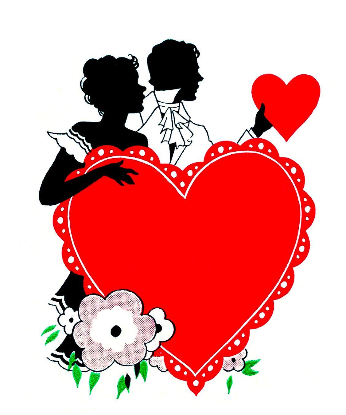 Valentine silhouette clipart jpg transparent library 12 Vintage Valentine Silhouettes! | Valentines Day | Vintage ... jpg transparent library