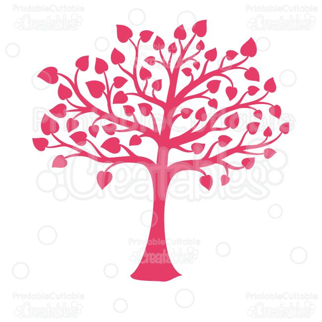 Valentine silhouette clipart picture download Valentine\'s Heart Tree Silhouette Clipart and SVG Cut Files picture download