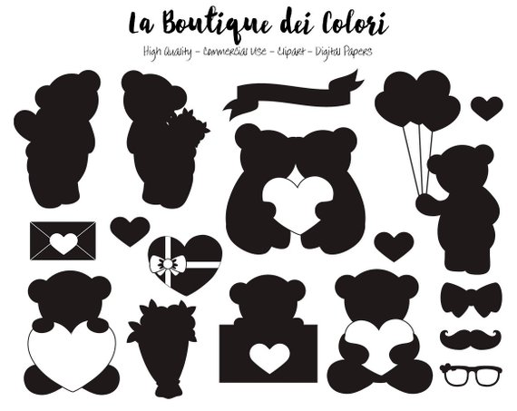 Valentine silhouette clipart graphic royalty free library Pin by Etsy on Products | Bear silhouette, Valentines day ... graphic royalty free library