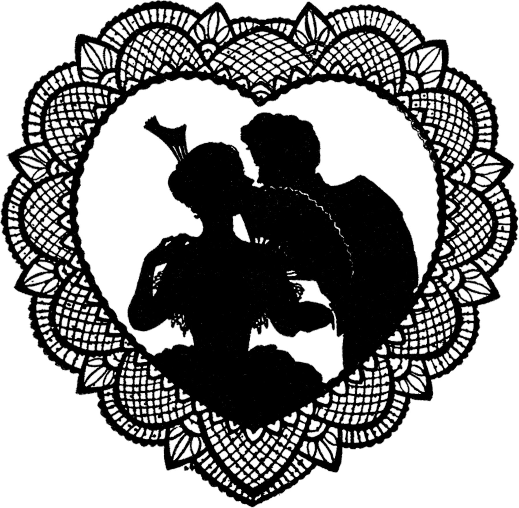 Valentine silhouette clipart clipart transparent 12 Vintage Valentine Silhouettes! - The Graphics Fairy clipart transparent