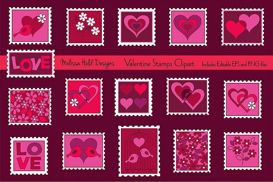 Valentine stamp clipart png download Valentine Stamps Clipart png download