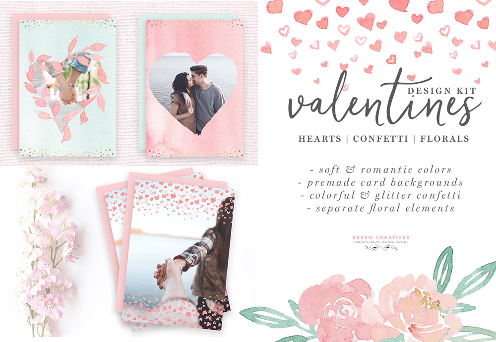 Valentines card design clipart black and white Watercolor Valentines Day Cards, Hearts Clipart, Confetti PNG Borders,  Photo Card Templates black and white