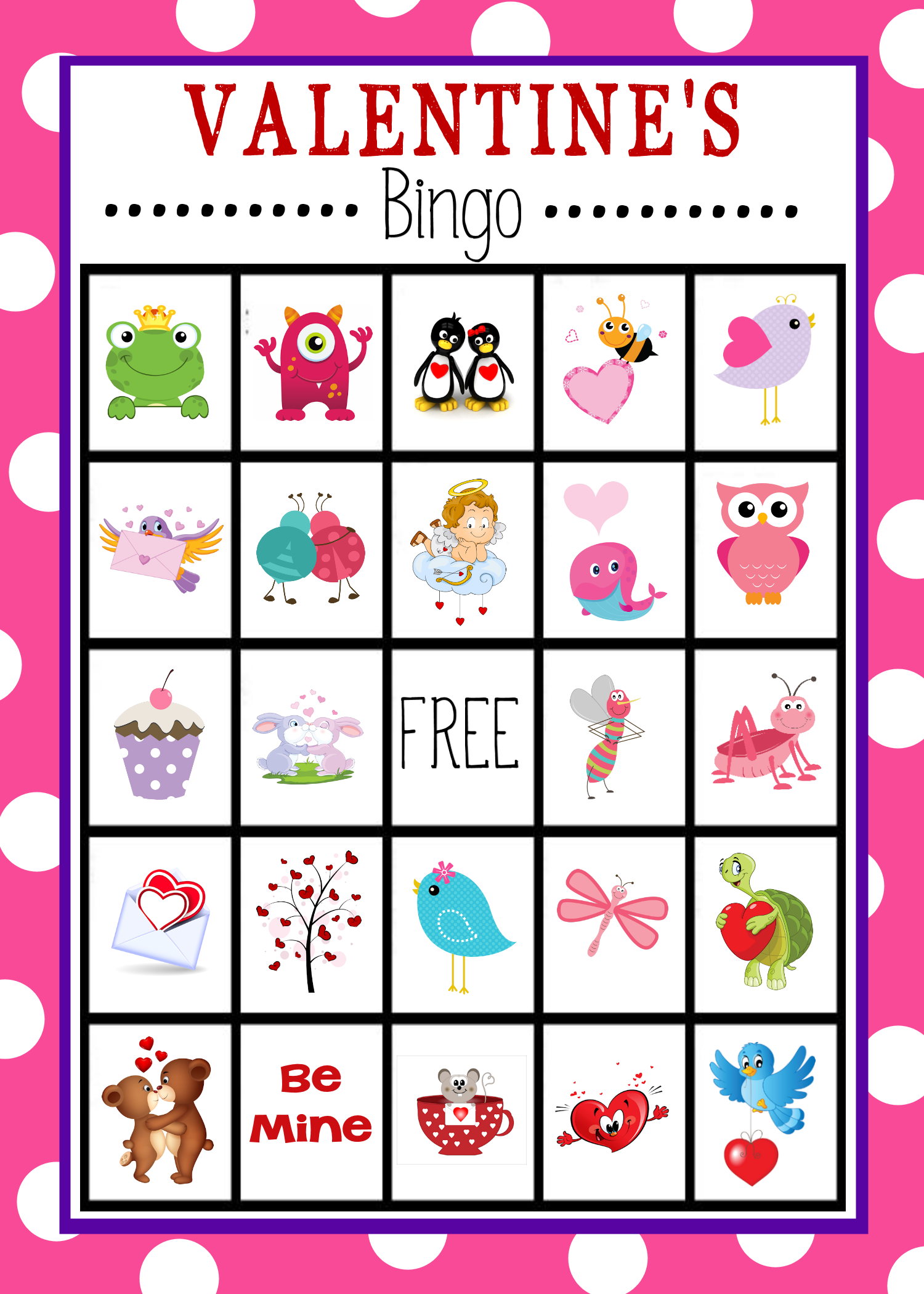 Valentines clipart printable free clip art download Free Printable Valentine's Day Bingo Game clip art download
