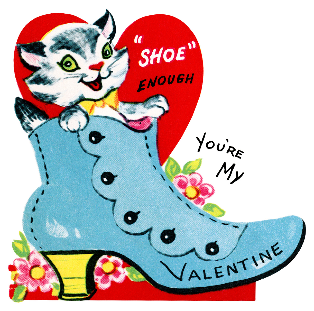 Valentines clipart printable free graphic royalty free kitten in shoe valentine, vintage valentine clip art, retro ... graphic royalty free