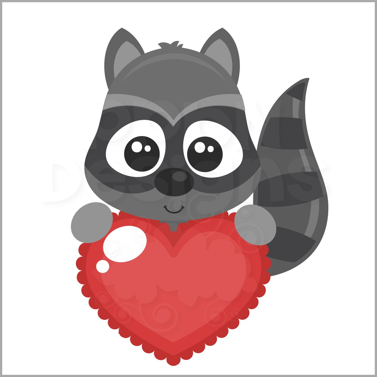 Valentines clipart with raccoon clip art transparent library Valentine Raccoon Peeker l SVG Cutting Files and Clipart ... clip art transparent library