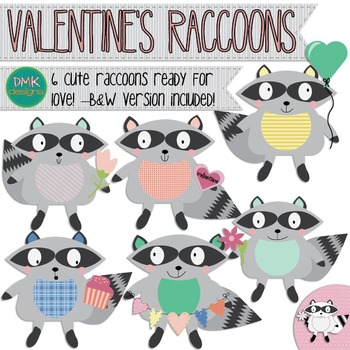 Valentines clipart with raccoon jpg download Clipart- Raccoon- Valentine\'s Day- Hearts jpg download