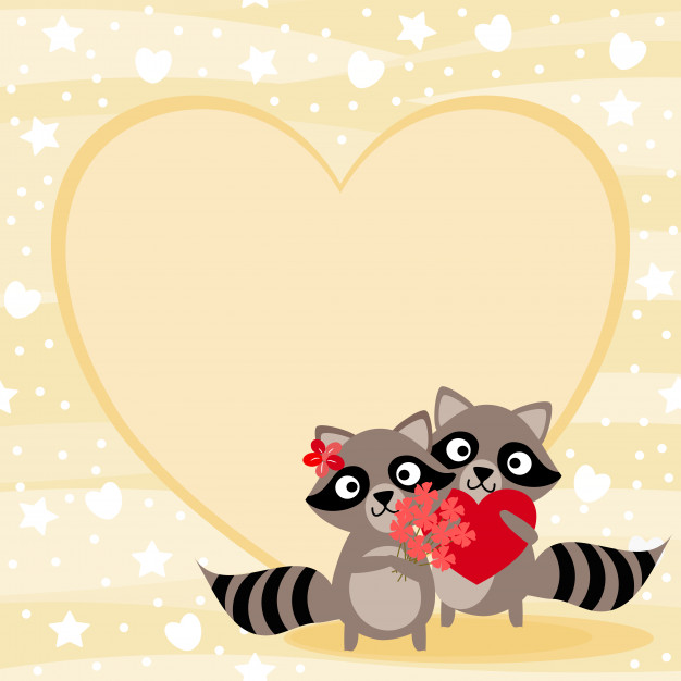 Valentines clipart with raccoon graphic download Cute couple raccoon in valentine background. Vector ... graphic download