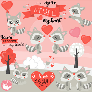 Valentines clipart with raccoon png download Valentine raccoons clipart commercial use, graphics, digital - CL1209 png download