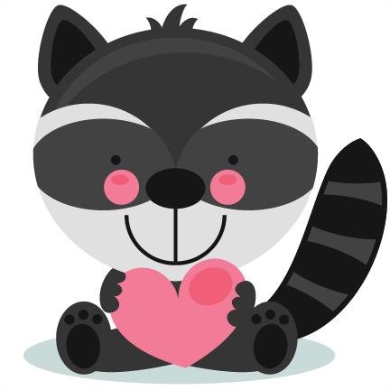Valentines clipart with raccoon graphic library Cute Valentine Raccoon scrapbook cuts SVG cutting files ... graphic library