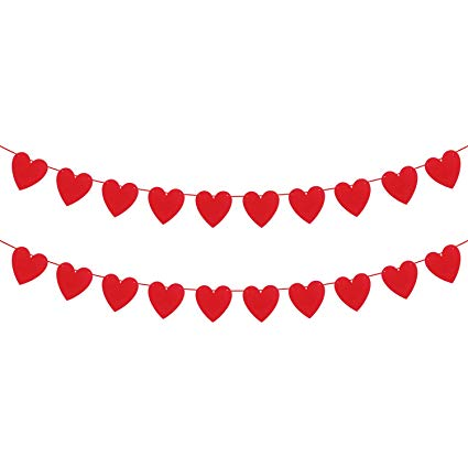 Valentines day banner clipart graphic free KATCHON Felt Heart Garland Banner - NO DIY - Valentines Day Banner Decor  -Valentines Decorations - Anniversary, Wedding, Birthday Party Decorations graphic free