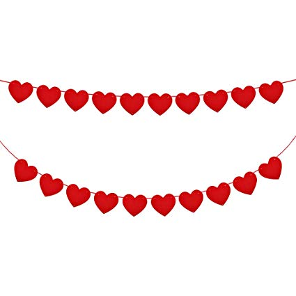 Valentines day banner clipart vector free stock Konsait 5M/16.4FT valentine Felt Heart Garland Banner Red Love Heart  Bunting Decoration for Valentine\'s Day party, Wedding Anniversary,  Engagement, ... vector free stock