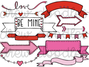 Valentines day banner clipart svg library Valentine\'s Day Banners and Arrows Digital Clip Art Set svg library